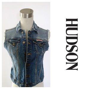 Hudson Distressed Denim Vest Blue